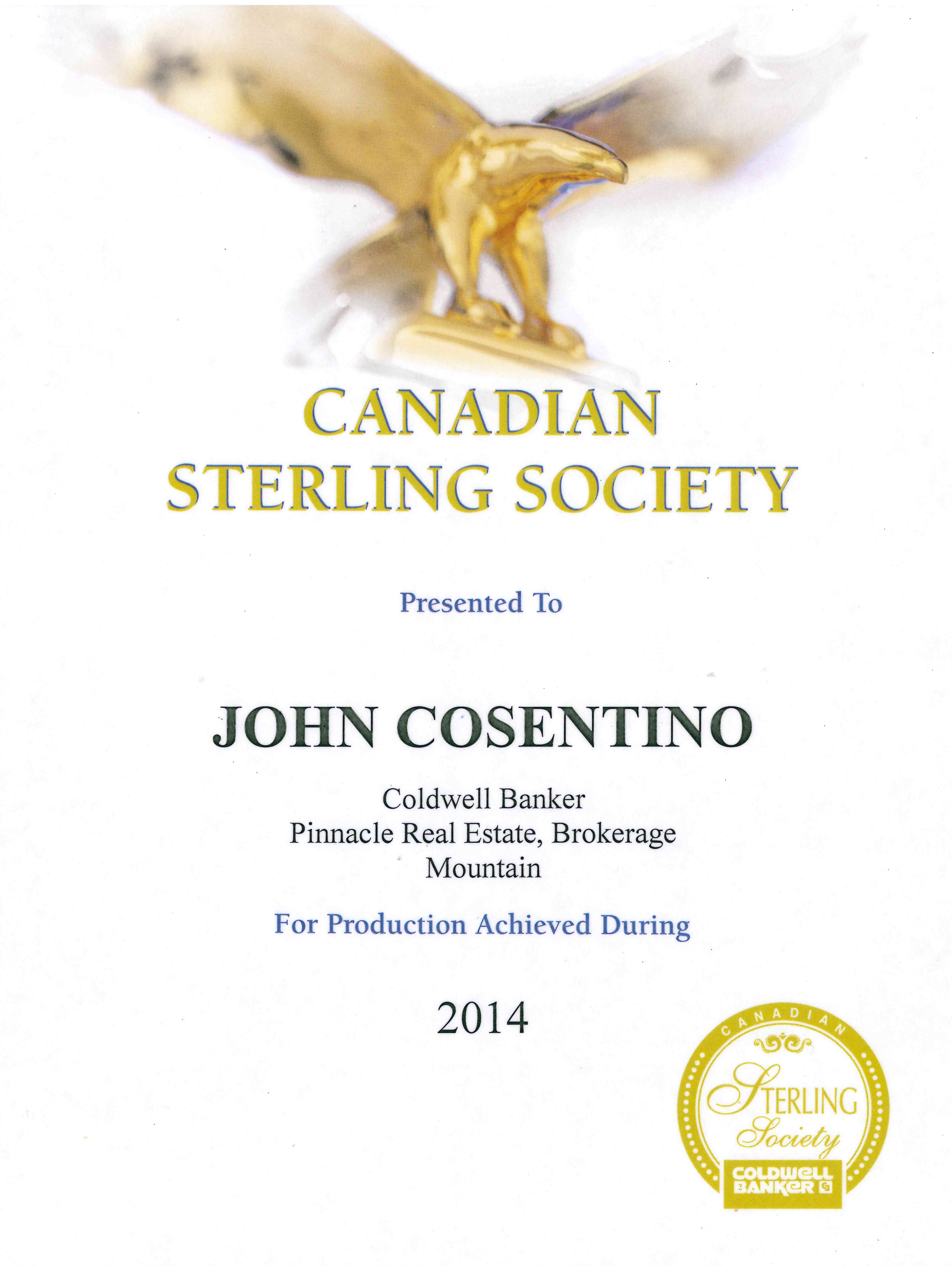 Canadian Sterling Award 2014